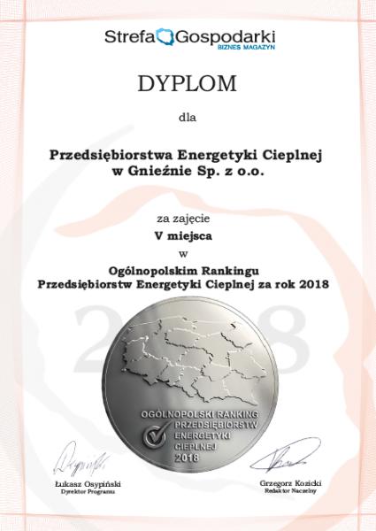 Dyplom za V miejsce PECu w rankingu na najlepsze przedsiębiorstwo ciepłownicze w Polsce